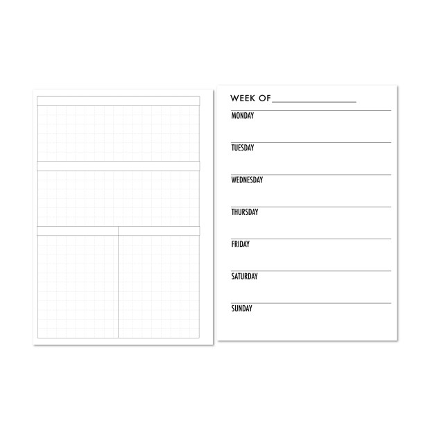 Weekly horizontal on one page with grid and blank headers