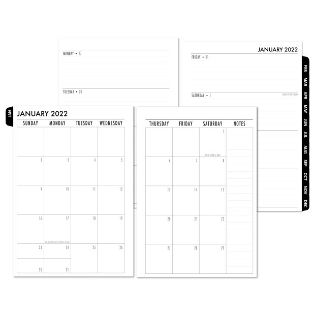 2022 Complete Horizontal Tabbed Deluxe Calendar - BLACK TABS