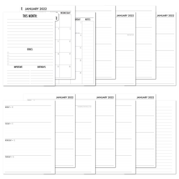 2022 Complete Horizontal Tabbed Deluxe Calendar - WHITE TABS