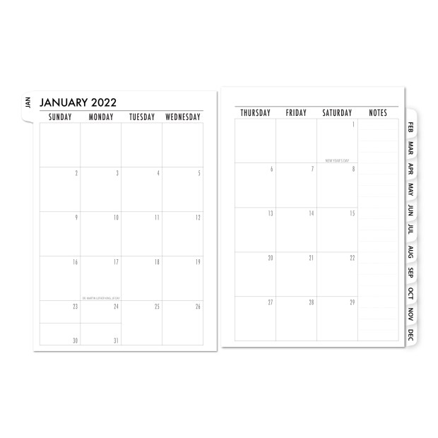 White Tabbed 2022 Monthly calendar refill