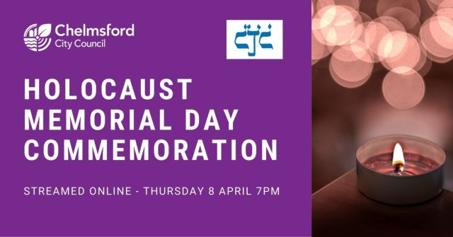 Banner for Holocaust Memorial Day Commemoration. Taking place Thursday 8 April at 7pm.