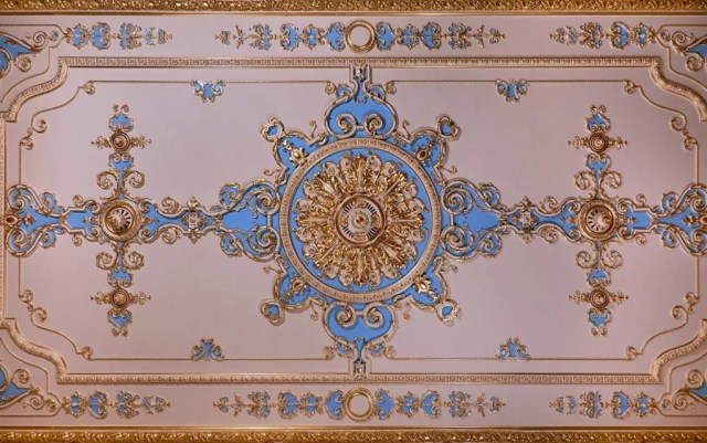 A shot of the ornate plaster ceiling of the Banqueting Room at Hylands House