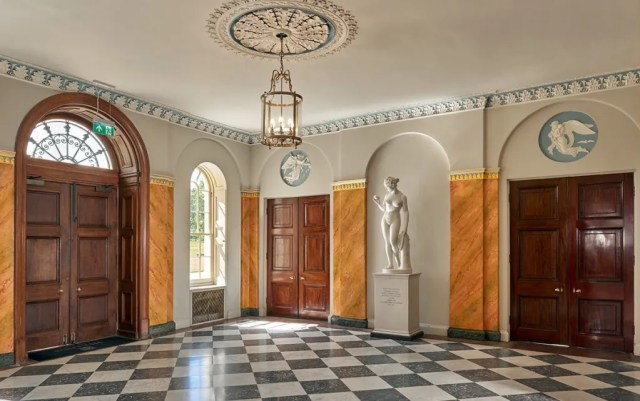 The entrance hall of Hylands House has a number of sculptures on display