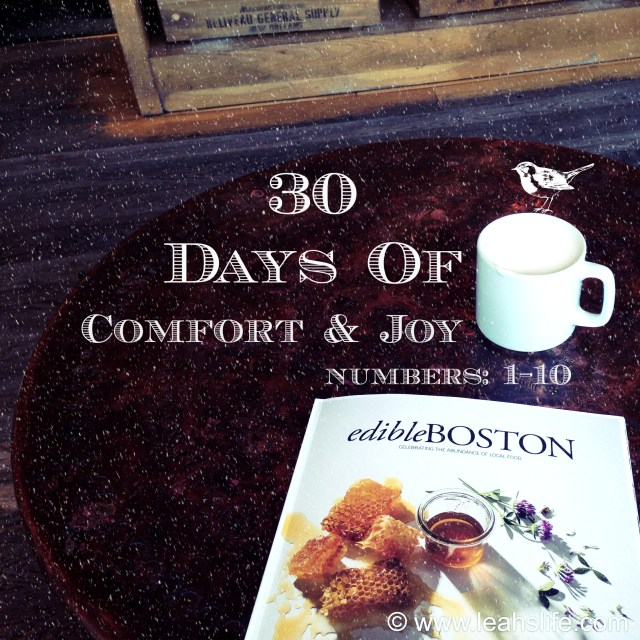 30 Days of Comfort and Joy: Dining in Boston -1 through 10