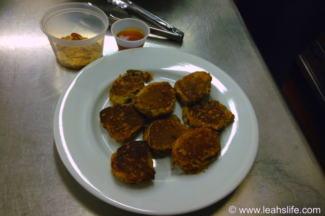 Carrot pancakes.  Thanks to their texture these work well to pre-make and freeze.  I toss them in the toaster oven for breakfast or a mid-afternoon snack.