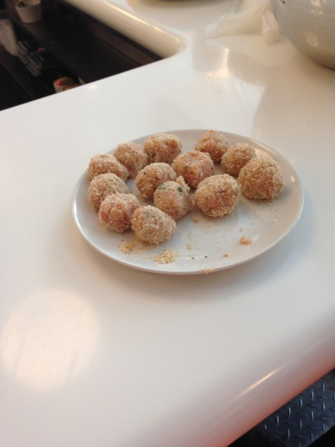 Isabelle's chicken and rice meatballs.  Vegetarian versions can be made with squash or sweet potato.