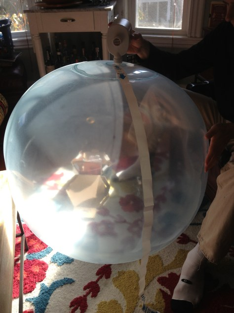 The Wubble Bubble Ball comes with a pump and guide for blowing it up.