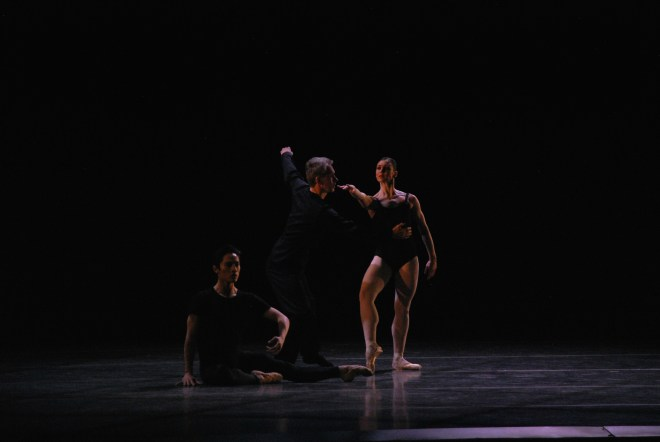 Left to right, Boston ballet principal Jeffrey Cirio, Choreographer and dancer Jorma Elo, and Boston Ballet