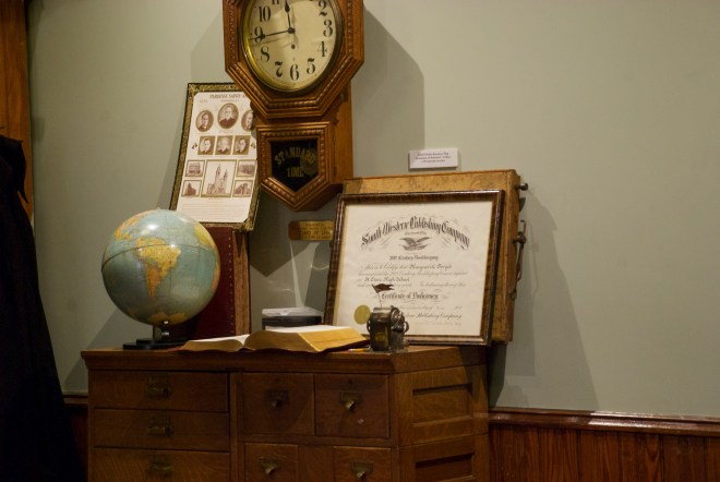 A peek at the French-Canadian style Catholic schools historically in the area. This is a model classroom that is part of the Museum of Work and Culture.