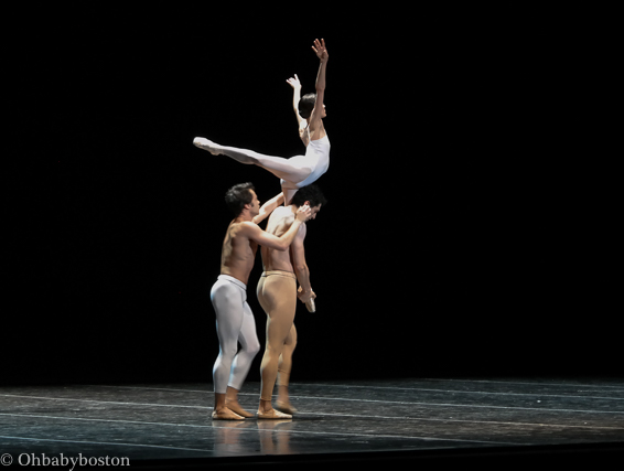 Anaïs Chalendard, Paulo Arrais, and Lasha Khozashvili performing a spectacular lift.