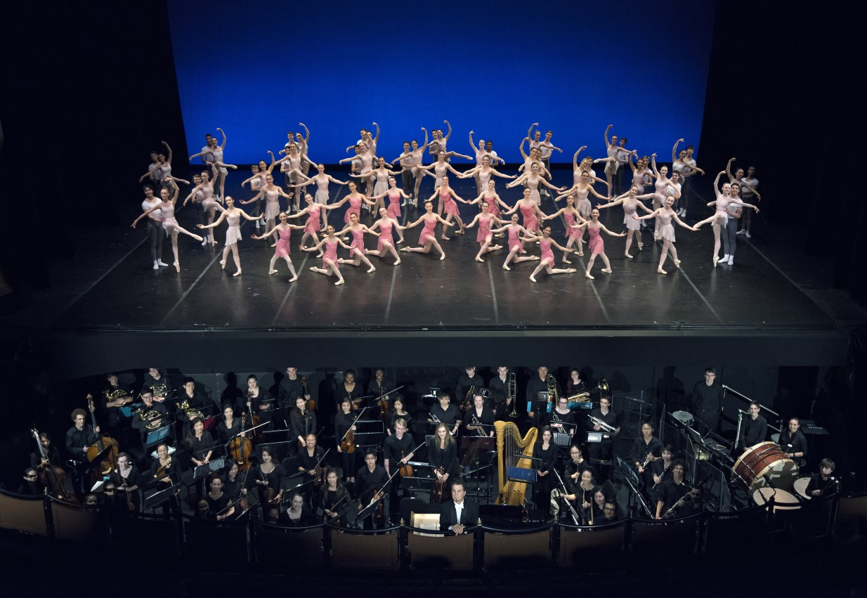 Boston Ballet School, members of the Youth Philharmonic Orchestra from New England Conservatory, and Conductor Jonathan McPhee in Next Generation; photo by Gene Schiavone, courtesy of Boston Ballet