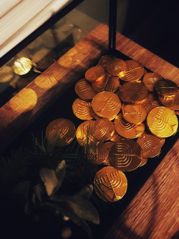 Greenery and chocolate coins for Chanukah.