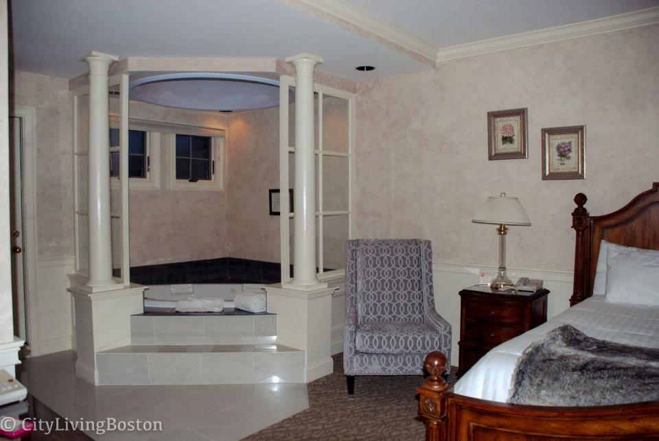 Hot tub in the room at Dan'l Webster Inn, Sandwich, MA
