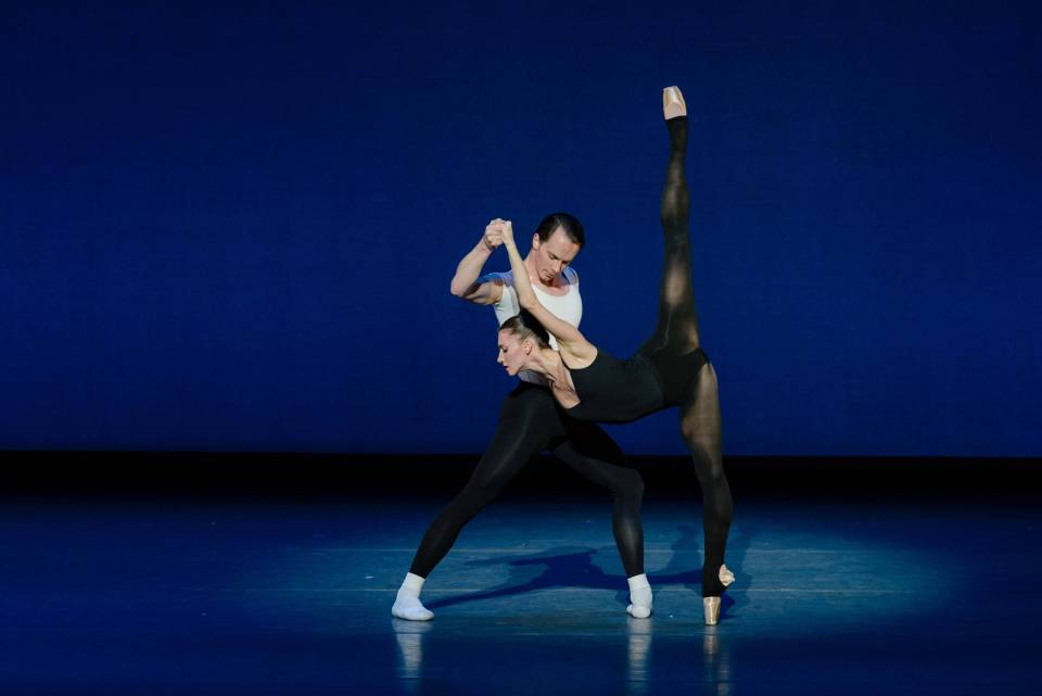 Paul Craig and Maria Baranova in George Balanchine's Stravinsky Violin Concerto; photo by Liza Voll Photography, courtesy Boston Ballet