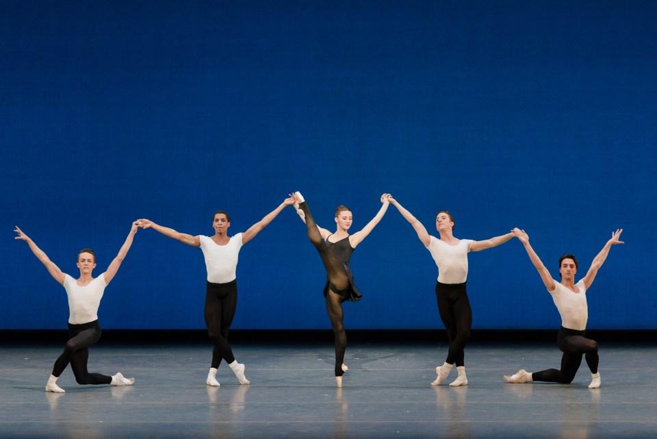 Boston Ballet in George Balanchine's Stravinsky Violin Concerto; photo by Liza Voll, courtesy Boston Ballet