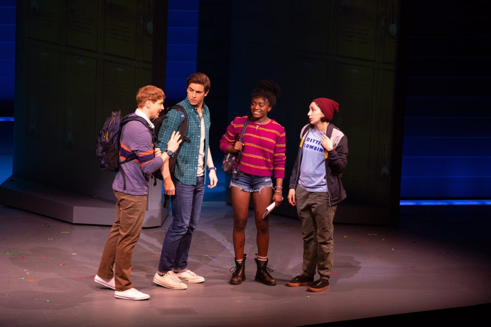 Jagged Little Pill at the ART Jagged Little Pill Production Photo Logan Hart as Andrew, Derek Klena as Nick Healy, Celia Gooding as Frankie Healy, and Lauren Patten as Jo in Jagged Little Pill. Photo: Evgenia Eliseeva