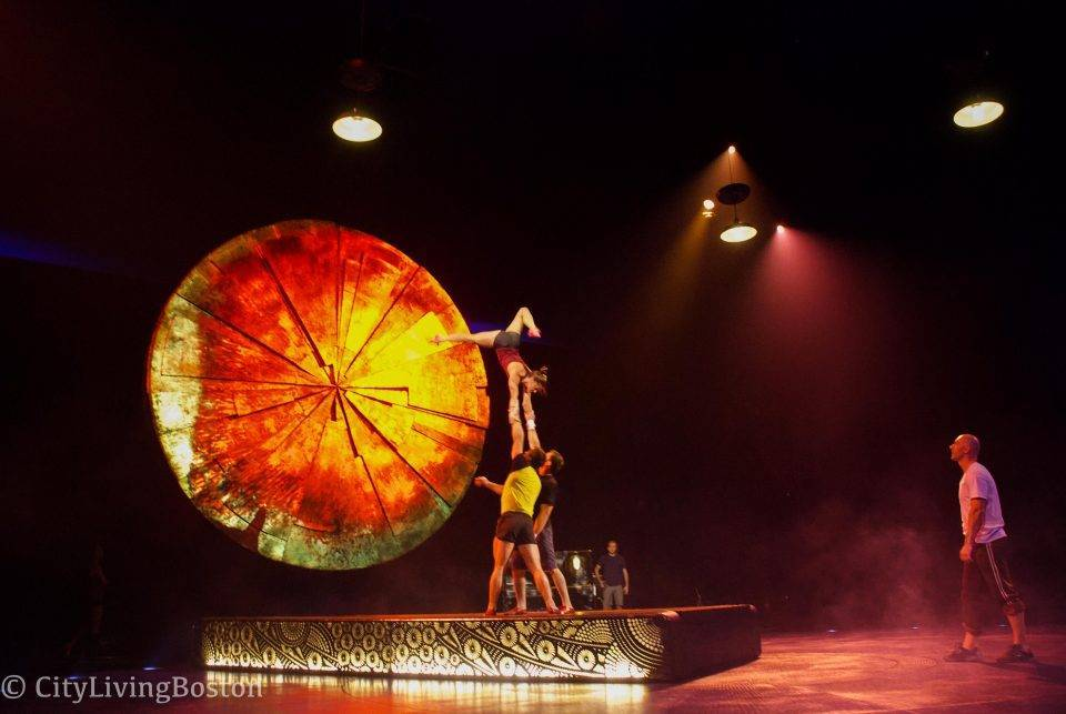 Flyer Kelly McDonald rehearsing Adagio before opening night of Luzia.