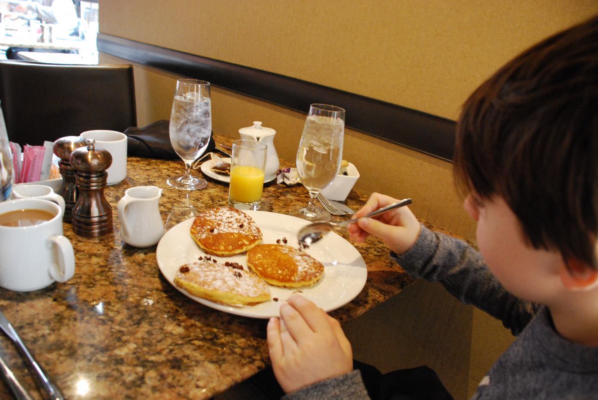 Silver dollar pancakes at Art Bar Royal Sonesta Boston
