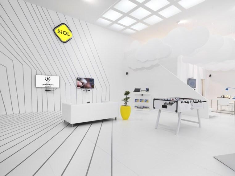 Razstavni prostor podjetja Telekom Slovenije na Mednarodnem obrtnem sejmu v Celju.