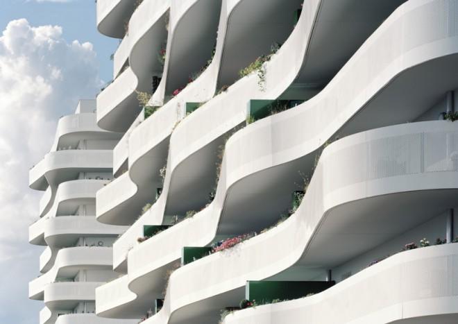 Valoviti balkoni soseske ZAC du Coteau. Foto: Benoit Fougeirol