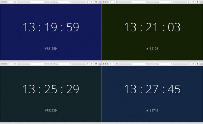 What Color Is It je spletna stran, ki spreminja čas v barve.