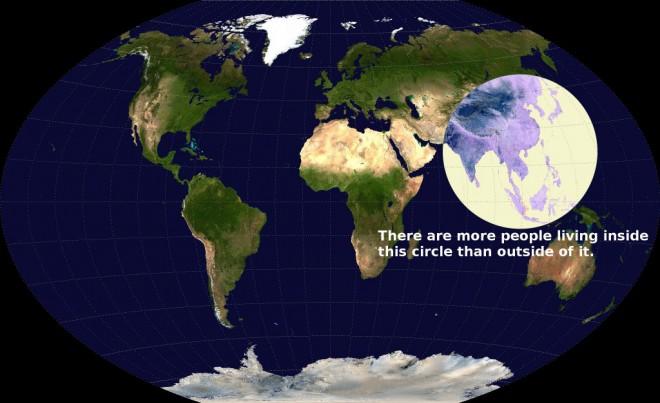 Znotraj tega kroga živi 51% vseh ljudi.