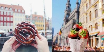 Pecivo na Danskem (levo) in jagode s čokolado v Bruslju (desno).