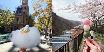Sladoled na oblakih v Sydneyju (levo) in barviti cmoki na Japonskem (desno).