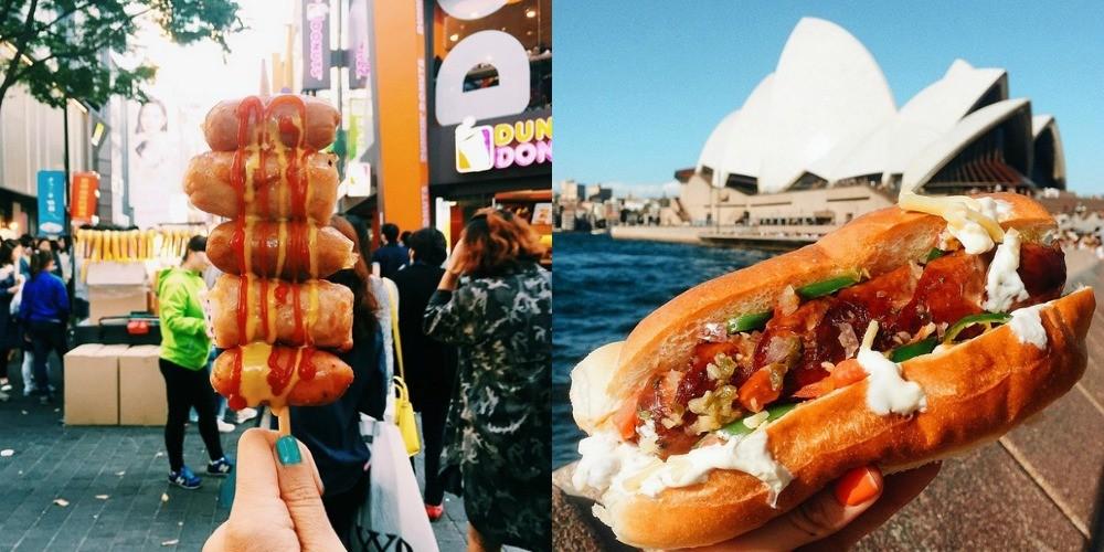 Nabodalo iz klobas v Južni Koreji (levo) in hot dog s čilijem v Sydneyju (desno).