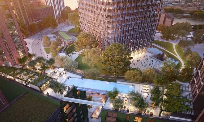 Popolnoma transparenten bazen-most bo povezoval dva luksuzna 10-nadstropna stanovanjska bloka.