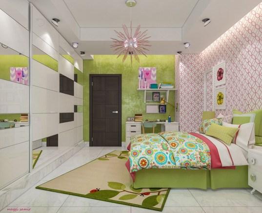 Otroška soba v zeleno-rožnatih odtenkih