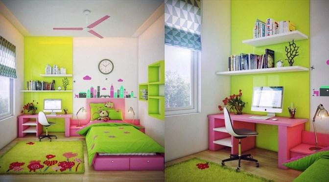 Otroška soba v rožnatem in zelenem