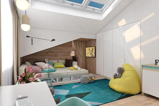 Otroška soba v turkiznih odtenkih