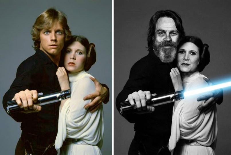 Mark Hamill in Carrie Fisher kot Luke Skywalker in princesa Leia, 1977 in 2015