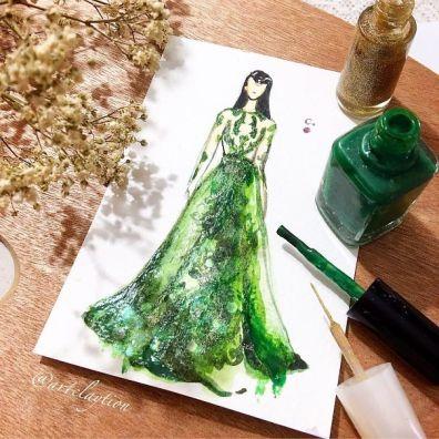 Modne ilustracije, narisane z lakom za nohte.