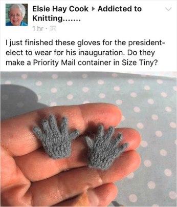 Babica, ki je za inavguracijo Donalda Trumpa spletla prav posebne rokavičke.