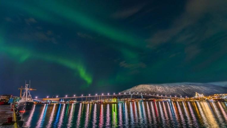 Zvezde nad pristaniščem v Tromseju