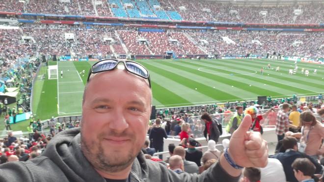 Peter Bedenik si je s sodelovanjem v nagradni igri Visa 2018 FIFA World Cup™ zagotovil ogled otvoritvene tekme 2018 FIFA World Cup™ .