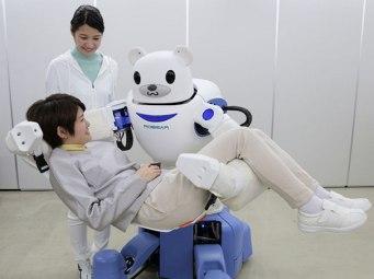 Zaradi staranja prebivalstva so Japonci izumili robote, ki skrbijo za transportiranje osebe do stranišča ali vozička.