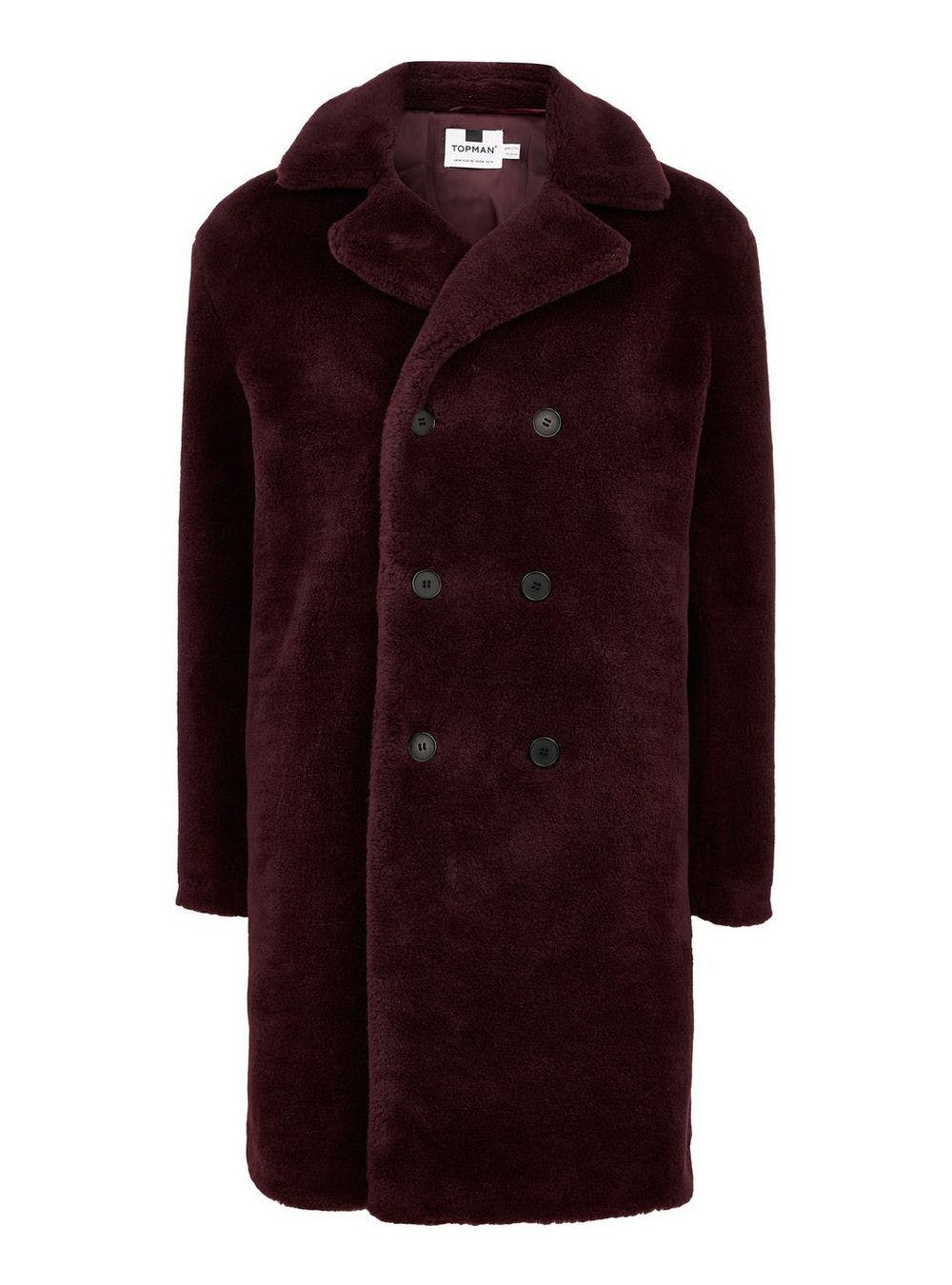 TOPMAN Berry Faux Fur Double Breasted Jacket.
