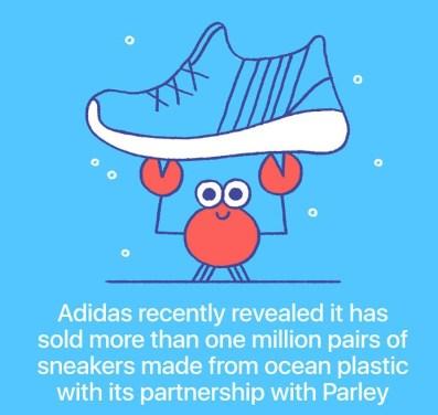 Adidas je prodal več kot milijon parov čeveljev, ki so bili izdelani iz plastike iz oceanov.