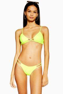 Neon Yellow Cut Out Bikini Crop Top