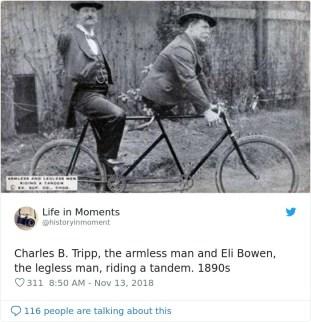 Charles B. Tripp, mož brez rok, in Eli Bowen, mož brez nog, na kolesu, okoli 1890.