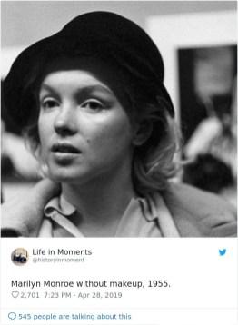 Marilyn Monroe brez ličil, 1955.