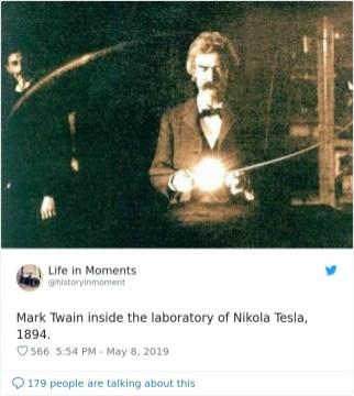 Mark Twain v laboratoriju Nikole Tesle, 1894.