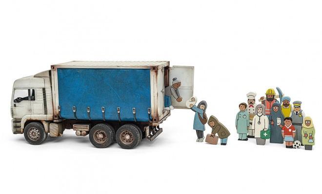 Banksyjev set za prve korake pri učenju štetja. Koliko oseb bo šlo v tovornjak?