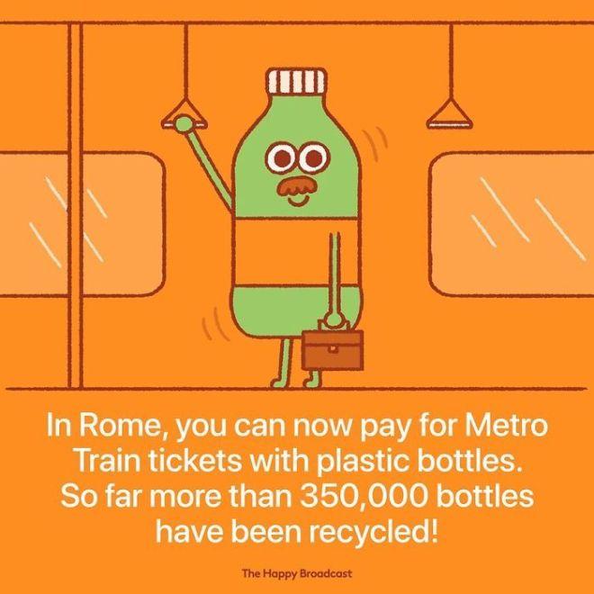 V Rimu lahko vožnjo z podzemnim vlakom plačamo kar s plastenkami.