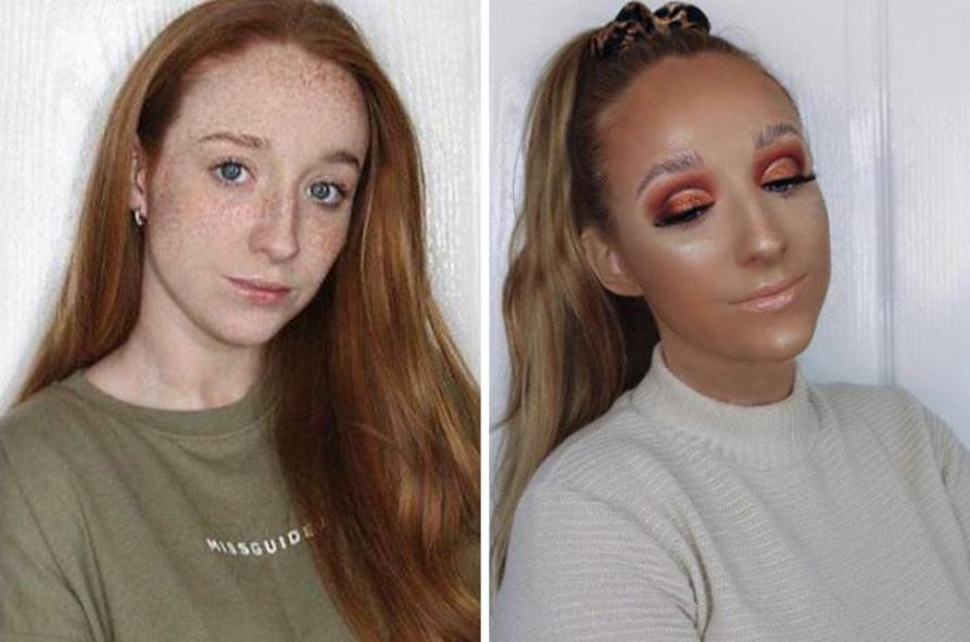 S pretiranim nanosom ličil se je to dekle spremenilo do neprepoznavnosti in mnogi menijo, da je naravno veliko lepša.