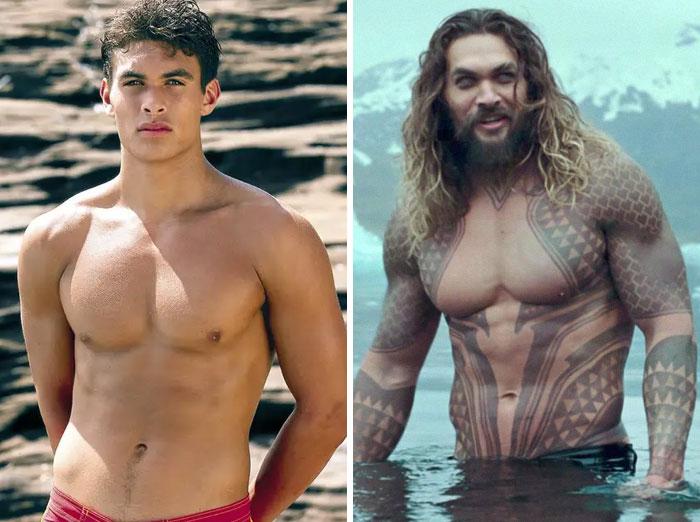 Jason Momoa v filmu Baywatch (2003) in v Aquaman (2018).