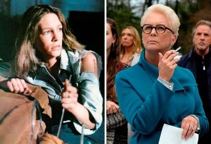 Jamie Lee Curtis v filmu Noč čarovnic (1978) in v Nož v hrbet (2019).
